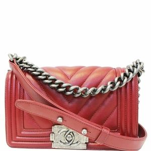 CHANEL Small Chevron Boy Calfskin Leather Flap Bag